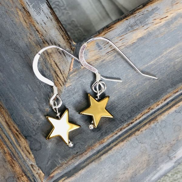 Silver & semi precious stone star earrings